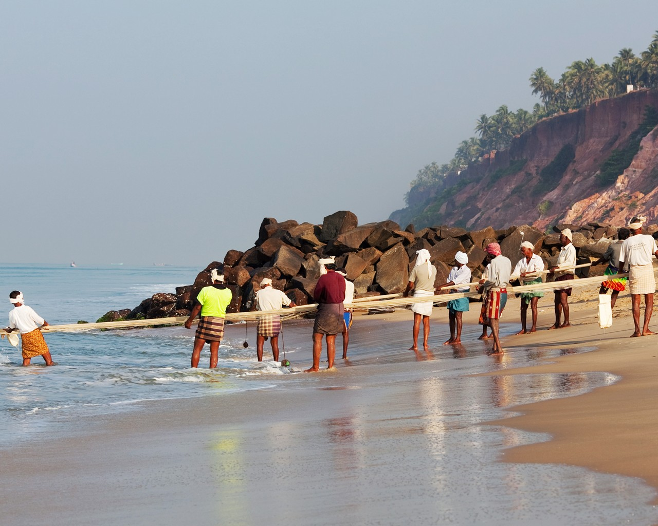 Fishermen in Kerala state, South India